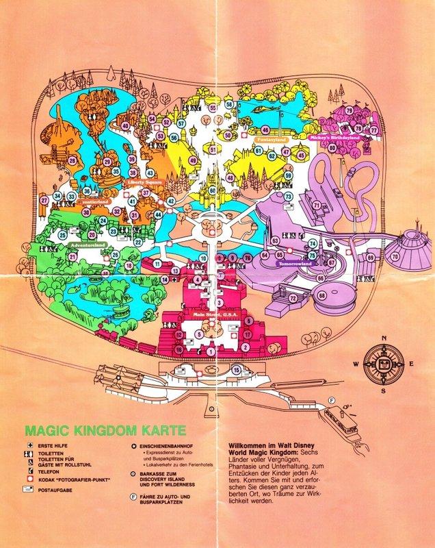 Magic Kingdom at Walt Disney World - 1990 Park Map (German) on
