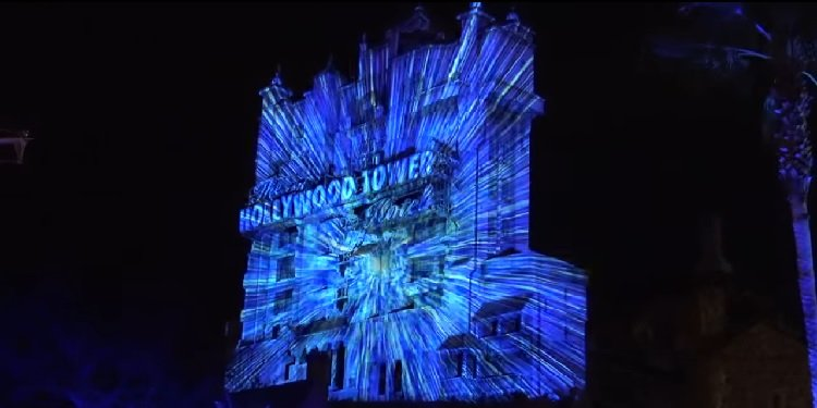 Incredible Death Star Projections on Tower of Terror!