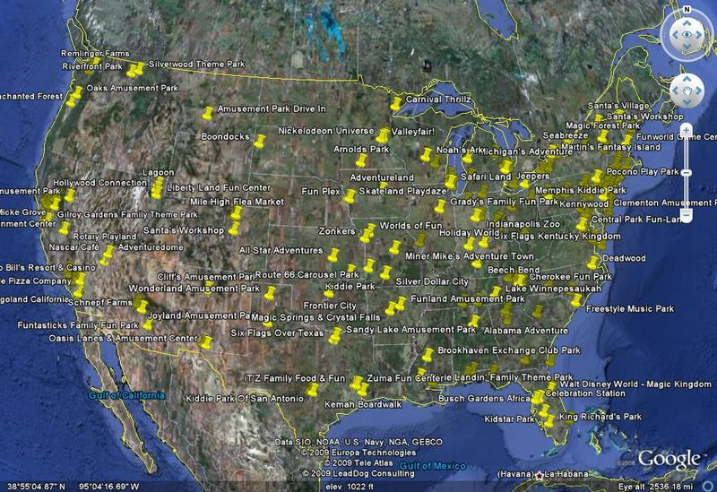 Map Of All Amusement Parks In Us Map of Every Coaster in the US using Google Earth   Theme Parks